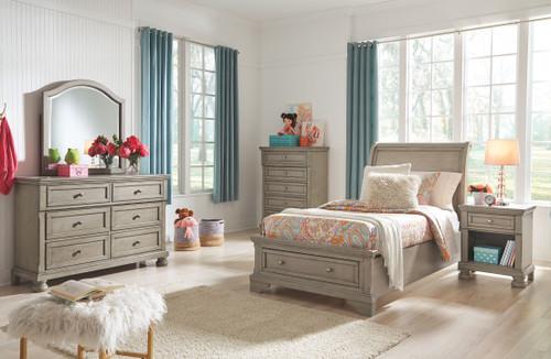 Lettner Light Gray 7 Pc. Dresser, Mirror, Chest, Twin Sleigh Bed & Nightstand