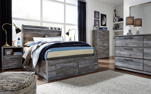 Baystorm Gray Full Panel Bed with 6 Storage Drawers