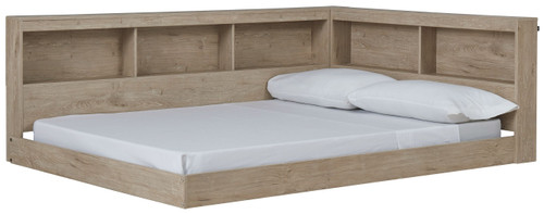 Oliah Natural Full Bookcase Storage Bed