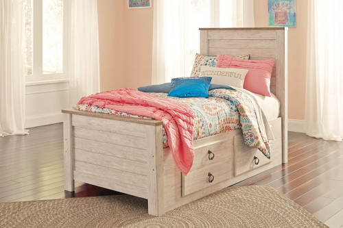 Willowton Whitewash Twin Panel Bed with Under Bed Storage