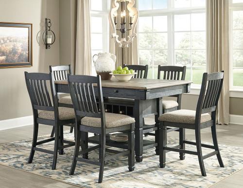 Tyler Creek Black/Gray 7 Pc. Rectangular Counter Table & 6 Upholstered Barstools