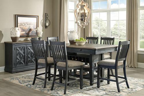 Tyler Creek Black/Gray 8 Pc. Rectangular Counter Table, 6 Upholstered Barstools & Server