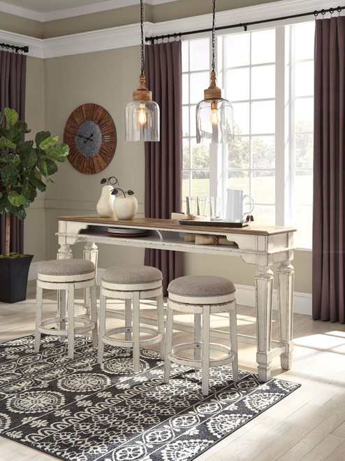 Realyn -Two-tone 4 Pc.- Long Counter Table & 3 Upholstered Swivel Stools