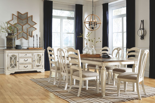 Realyn Chipped White 9 Pc. Rectangular Dining Room Extension Table, 4 Ladderback Side Chairs, 4 Ribbon Back Side Chairs