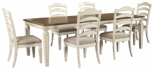 Realyn Chipped White 7 Pc. Rectangular Dining Room Extension Table, 6 Ladderback Side Chairs