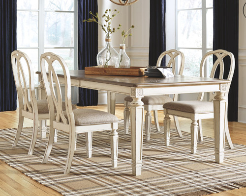 Realyn Chipped White 5 Pc. Rectangular Dining Room Extension Table, 4 Upholstered Side Chairs