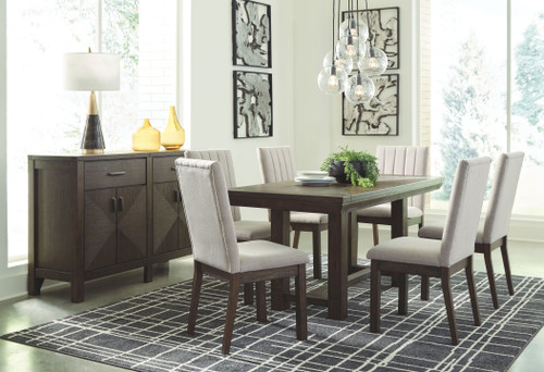 Dellbeck Brown 8 Pc. Rectangular Dining Room Extension Table, 6 Side Chairs, Server