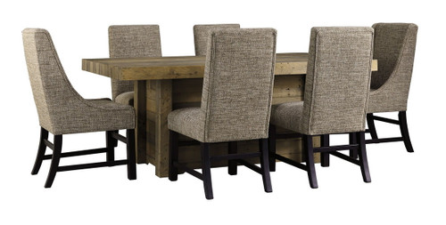 Sommerford Brown 7 Pc. Rectangular Table, 4 Upholstered Side Chairs & 2 Upholstered Arm Chairs