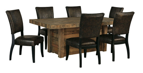 Sommerford Brown 7 Pc. Rectangular Table & 6 Upholstered Side Chairs