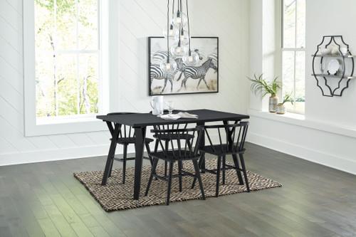 Otaska Black 5 Pc. Rectangular Dining Room Table, 4 Side Chairs