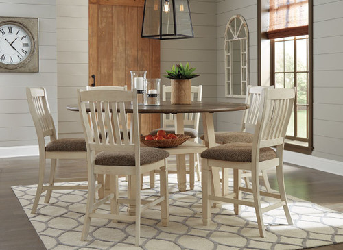 Bolanburg Two-tone 7 Pc. Round Drop Leaf Counter Table, 6 Upholstered Barstools