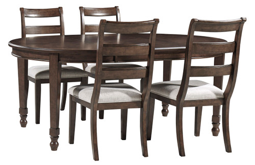 Adinton Reddish Brown/Linen 5 Pc. Oval Dining Room Extension Table, 4 Side Chairs