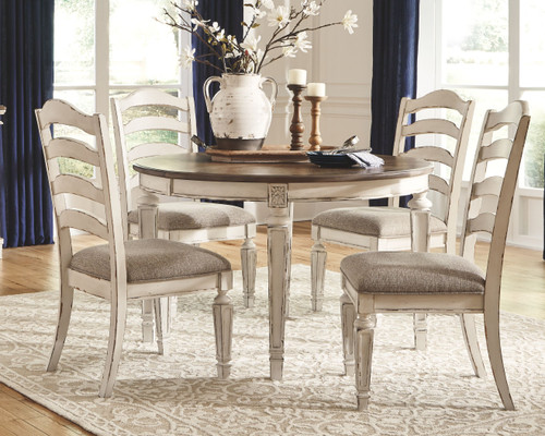 Realyn Chipped White 5 Pc. Oval Dining Room Extension Table, 4 Upholstered Ladderback Side Chairs