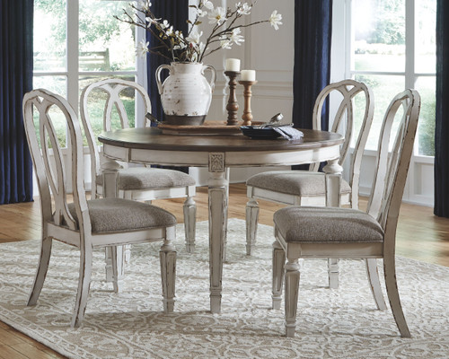 Realyn Chipped White 5 Pc. Oval Dining Room Extension Table, 4 Upholstered Ribbon Back Side Chairs