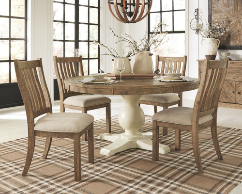 Grindleburg Light Brown 7 Pc. Round Table Top, 4 Upholstered Side Chairs & Server