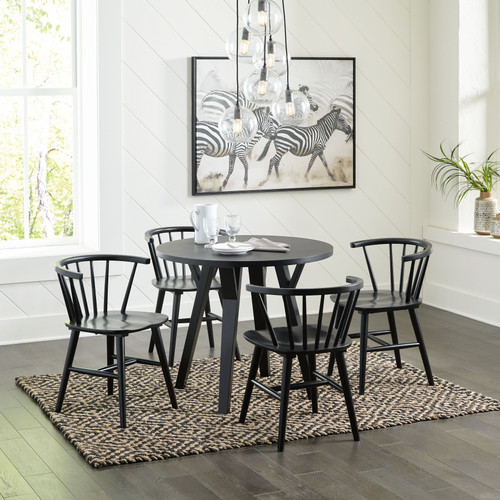 Otaska Black 5 Pc. Round Dining Room Table, 4 Side Chairs