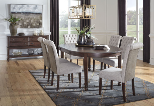 Adinton Reddish Brown 8 Pc. Oval Dining Room Extension Table, 6 Upholstered Side Chairs, Server