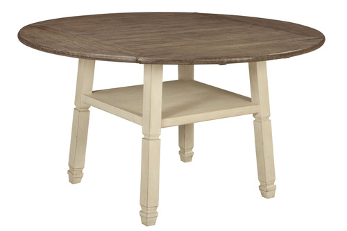 Bolanburg White / Brown / Beige Round Drop Leaf Counter Table