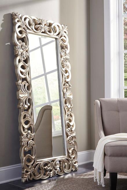 Lucia Antique Silver Finish Accent Mirror