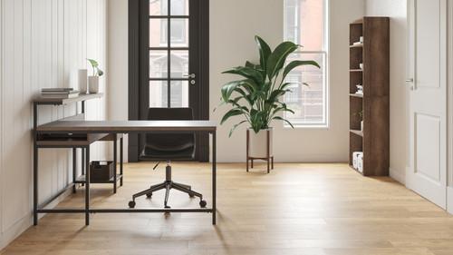 Dorrinson Two-tone L-Desk with Storage, Bookcase & Swivel Desk Chair
