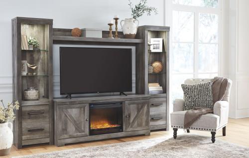 Wynnlow Gray LG TV Stand, 2 Piers, Bridge with Glass/Stone Fireplace Insert