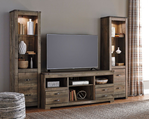 Trinell Entertainment Center LG TV Stand & 2 Tall Piers