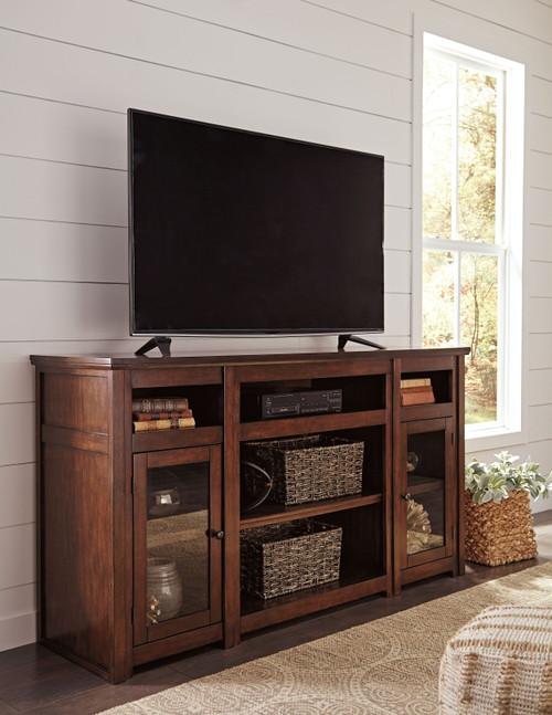 Harpan Reddish Brown XL TV Stand w/Fireplace Option