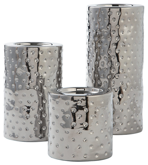 Marisa Silver Finish Candle Holder Set (3/CN)
