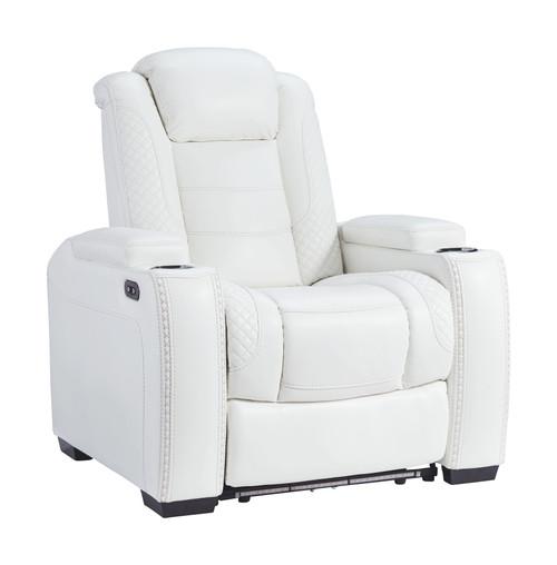 Party Time White Power Recliner/ADJ Headrest