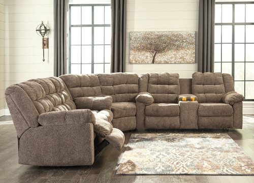 Workhorse Cocoa Reclining Sofa, Wedge, Double Reclining Loveseat with Console Sectional