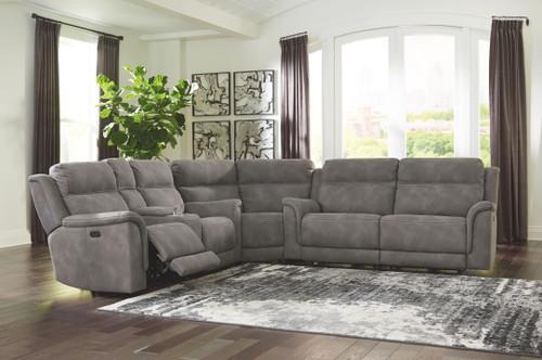 Next-Gen DuraPella Slate 2 Seat Power Recliner Sofa Adjustable Headrest, Wedge, Power Reclining Loveseat with CON/Adjustable Headrest Sectional