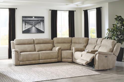 Next-Gen DuraPella Sand 2 Seat Power Reclining Sofa with Adjustable Headrest, Wedge, Power Reclining Loveseat with Console/Adjustable Headrest Sectional