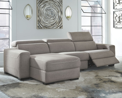 Mabton Gray Left Arm Facing Press Back Power Chaise, Armless Chair, Right Arm Facing Zero Wall Power Recliner Sectional