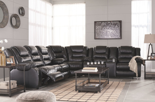 Vacherie Black Reclining Sofa, Wedge, Double Reclining Loveseat with Console Sectional