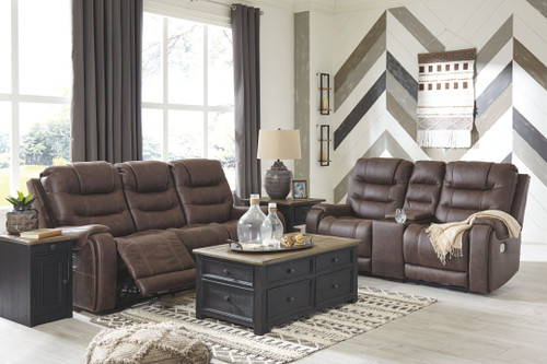 Yacolt Walnut 2 Pc. Power Reclining Sofa with Adjustable Headrest, Power Reclining Loveseat with Console