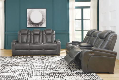 Turbulance Quarry Power Reclining Sofa with ADJ HDRST & Power Reclining Loveseat with CON/ADJ HDRST