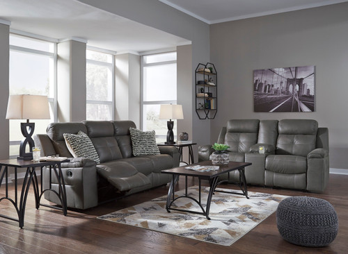 Jesolo Dark Gray 2 Pc. Reclining Sofa, Double Reclining Loveseat with Console