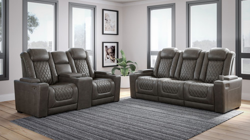 HyllMont Gray 2 Pc. Power Reclining Sofa with Adjustable Headrest, Power Reclining Loveseat with CON/Adjustable Headrest