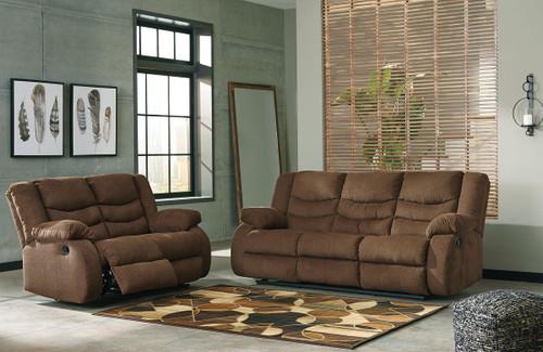 Tulen Chocolate 2 Pc. Reclining Sofa, Reclining Loveseat