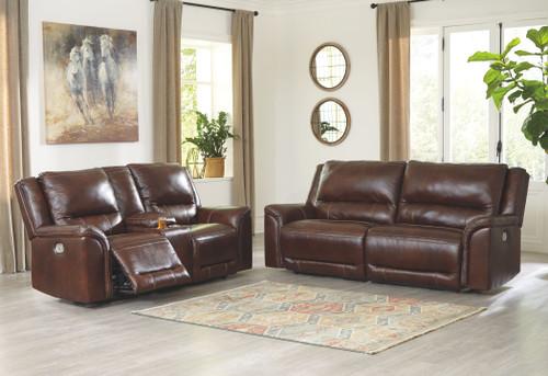 Catanzaro Mahogany 2 Pc. 2 Seat Power Reclining Sofa Adjustable Headrest, Power Reclining Loveseat/CON/Adjustable HDRST