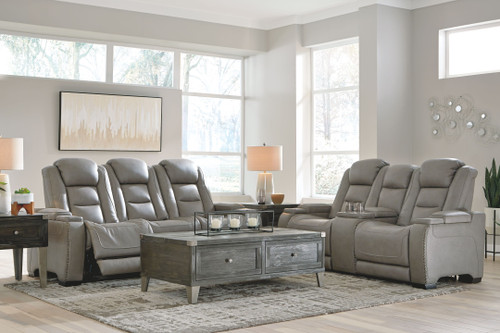 The Man-Den Gray 2 Pc. Power Reclining Sofa with Adjustable Headrest, Power Reclining Loveseat/CON/Adjustable HDRST