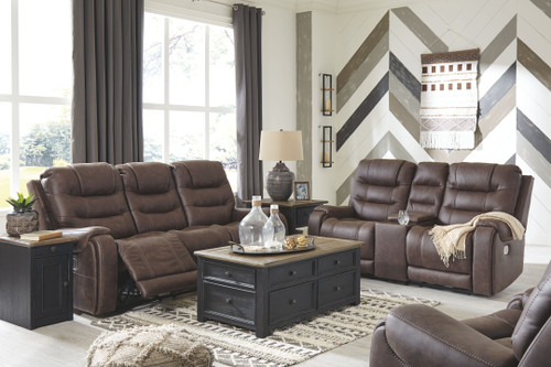 Yacolt Walnut 3 Pc. Power Reclining Sofa with Adjustable Headrest, Power Reclining Loveseat with Console, Power Recliner with Adjustable Headrest