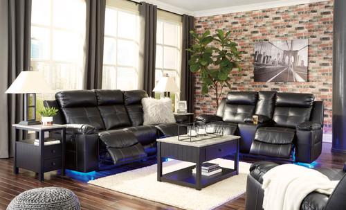 Kempten Black 3 Pc. Reclining Sofa, Double Reclining Loveseat with Console, Rocker Recliner