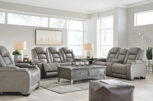 The Man-Den Gray 3 Pc. Power Reclining Sofa with Adjustable Headrest, Power Reclining Loveseat/CON/Adjustable Headrest, Power Recliner/Adjustable HDRST