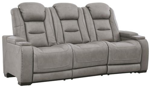 The Man-Den Gray Power Reclining Sofa with ADJ Headrest