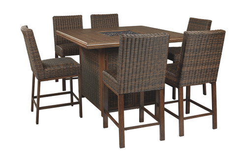 Paradise Trail Medium Brown Fire Pit Table & 6 Barstools
