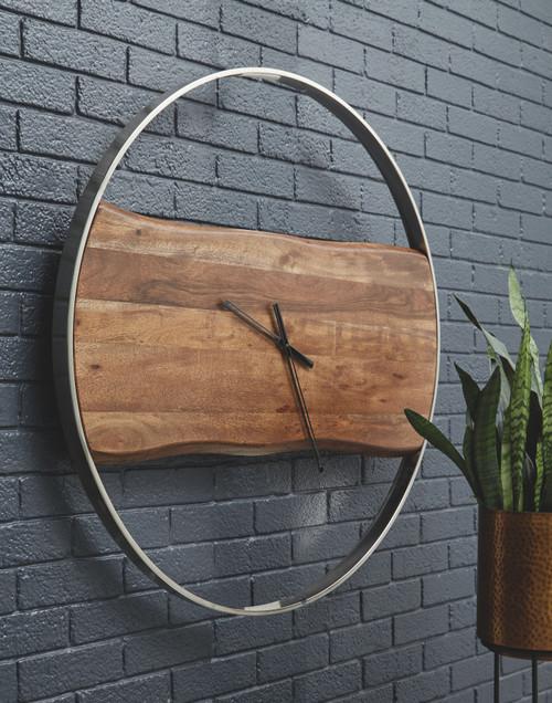 Panchali Brown/Silver Finish Wall Clock