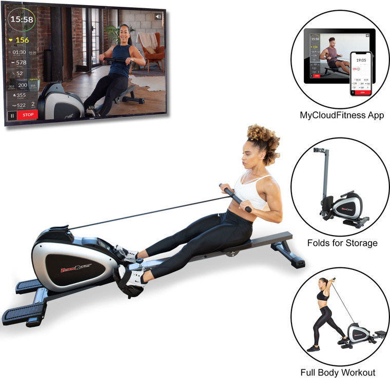 FITNESS REALITY 1000 Plus Bluetooth Magnetic Rower Rowing Machine with Extended Optional Full Body Exercises and MyCloudFitness App