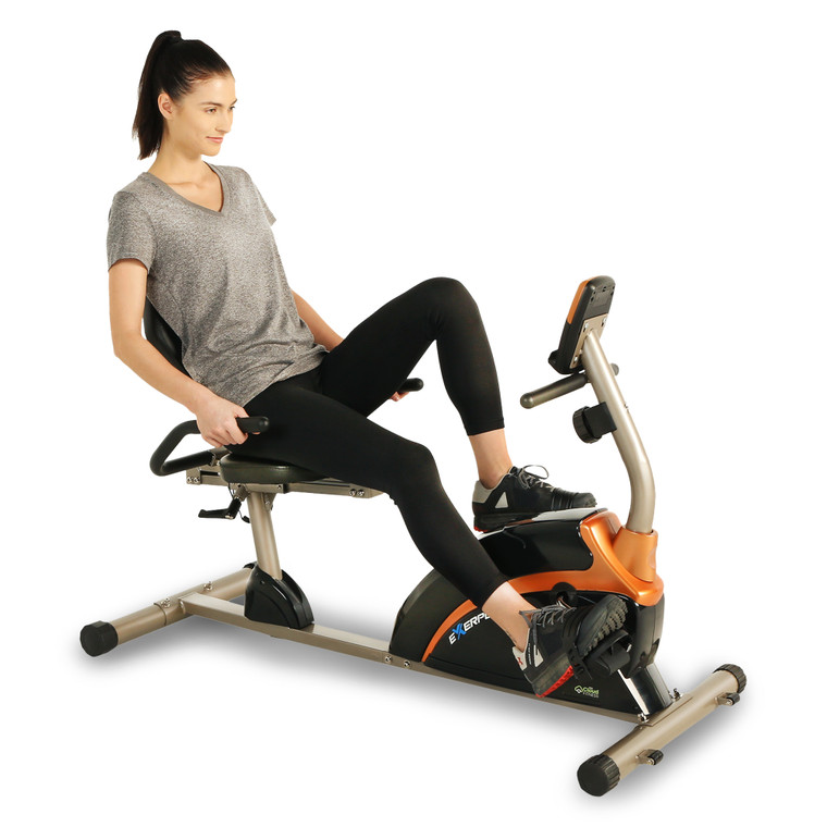 EXERPEUTIC 1500XL Bluetooth Smart Cloud Fitness High Capacity Recumbent Bike with Goal Setting and Free App