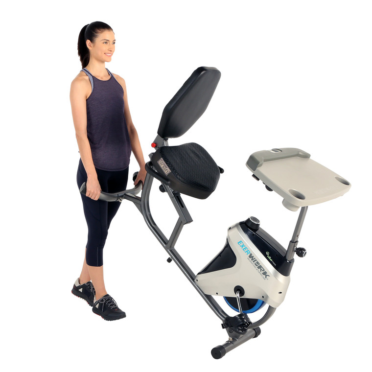 EXERPEUTIC 2500 ExerWork Bluetooth 3 Way Adjustable Desk Recumbent Exercise Bike with AIRSOFT Seat and Free APP